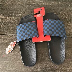 NEW Vans Checkered Black Blue Slides Sandals